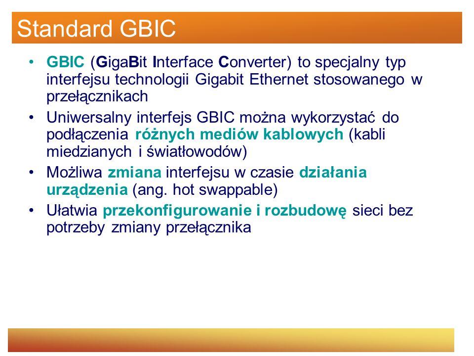 Standard GBIC GBIC (GigaBit Interface Converter) to specjalny typ interfejsu technologii Gigabit Ethernet stosowanego w przełącznikach.