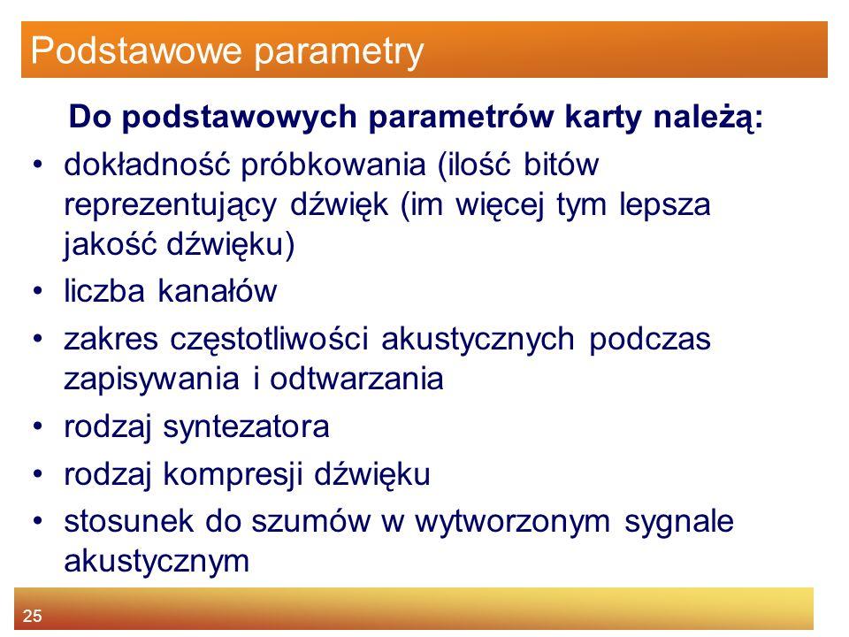 Podstawowe parametry Do podstawowych parametrów karty należą: