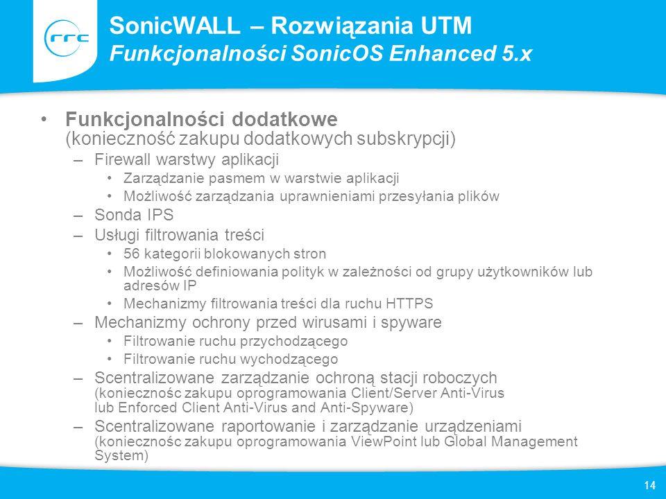 SonicWALL – Rozwiązania UTM Funkcjonalności SonicOS Enhanced 5.x