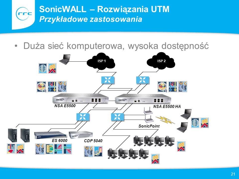 SonicWALL – Rozwiązania UTM Przykładowe zastosowania