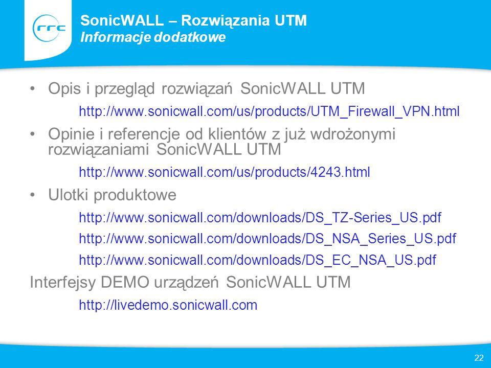 SonicWALL – Rozwiązania UTM Informacje dodatkowe