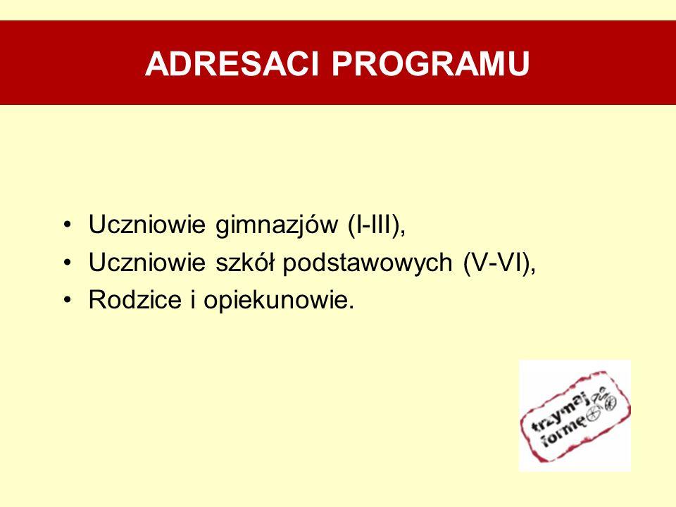 ADRESACI PROGRAMU Uczniowie gimnazjów (I-III),