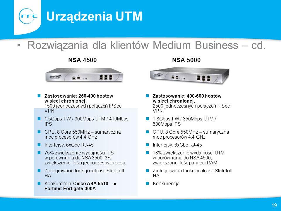 Urządzenia UTM Rozwiązania dla klientów Medium Business – cd. NSA 4500