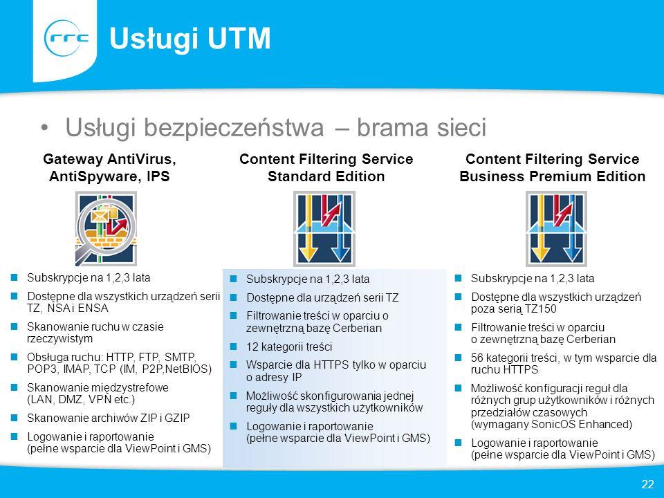 Usługi UTM Usługi bezpieczeństwa – brama sieci