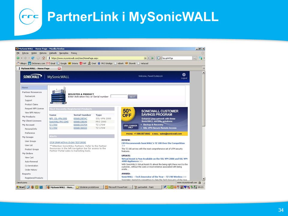 PartnerLink i MySonicWALL