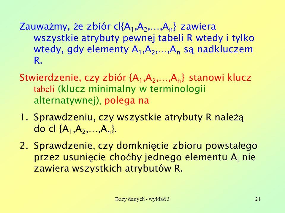 Sprawdzeniu, czy wszystkie atrybuty R należą do cl {A1,A2,…,An}.