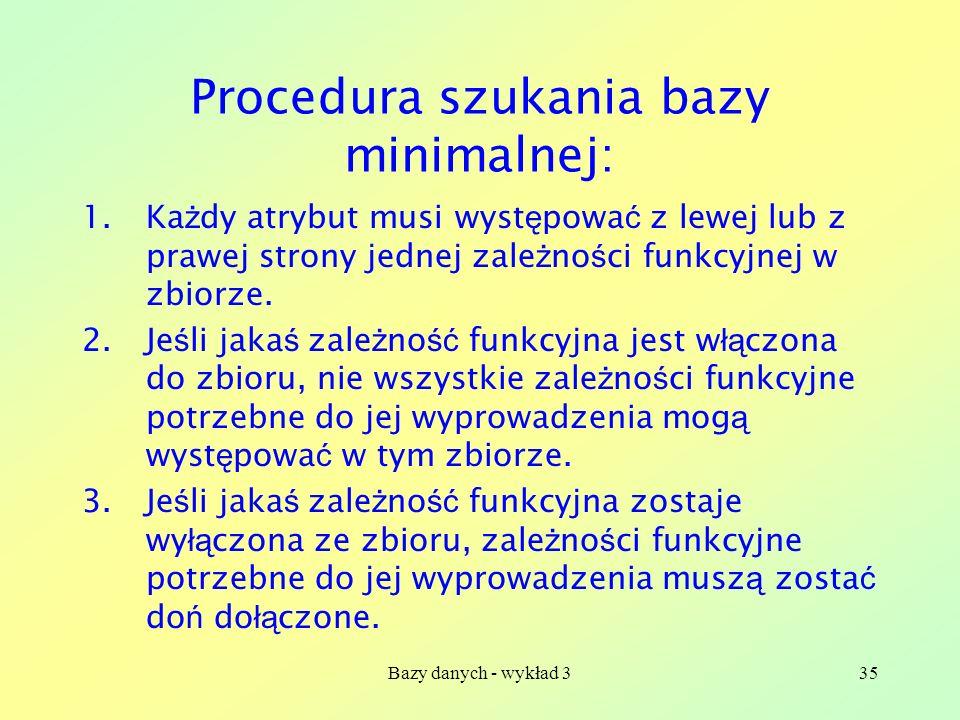 Procedura szukania bazy minimalnej: