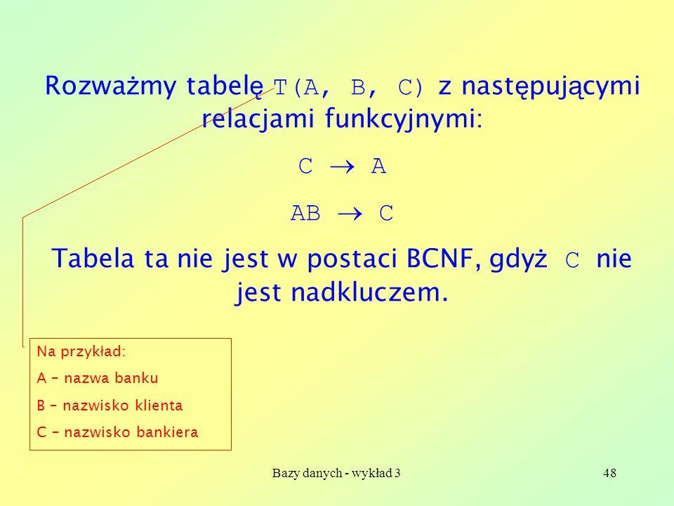 Rozważmy tabelę T(A, B, C) z następującymi relacjami funkcyjnymi: