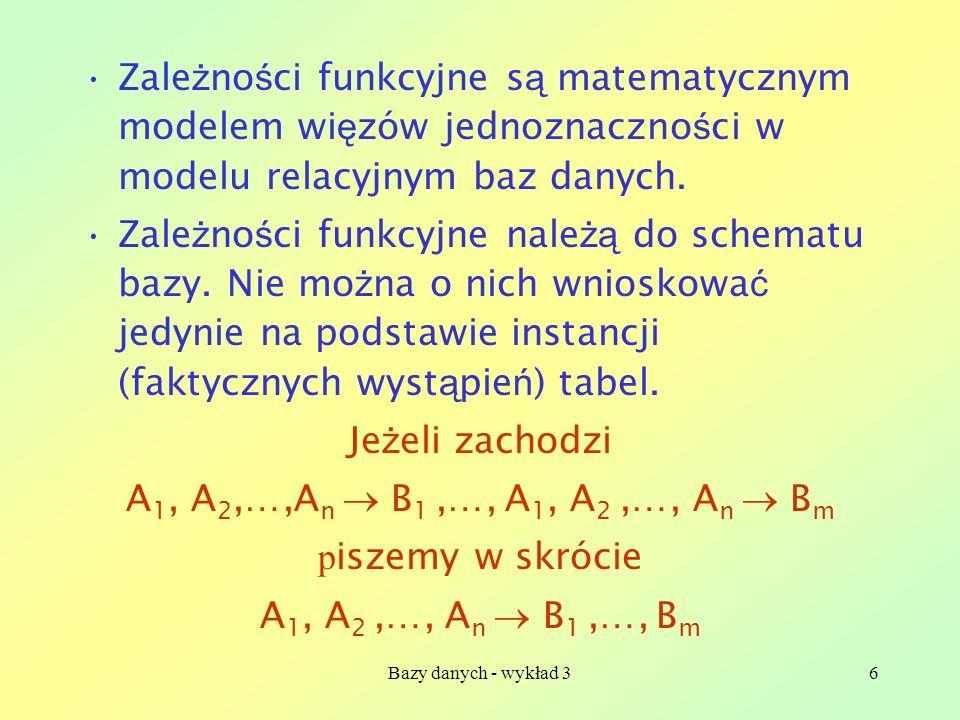 Zależności funkcyjne są matematycznym modelem więzów jednoznaczności w modelu relacyjnym baz danych.