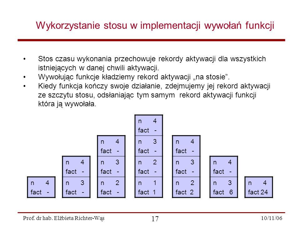 Wykorzystanie stosu w implementacji wywołań funkcji