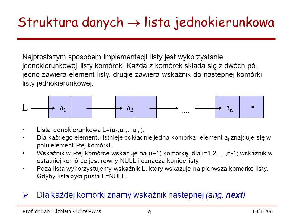 Struktura danych  lista jednokierunkowa