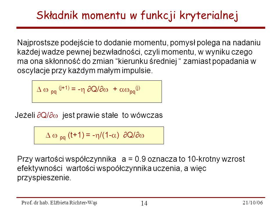 Składnik momentu w funkcji kryterialnej