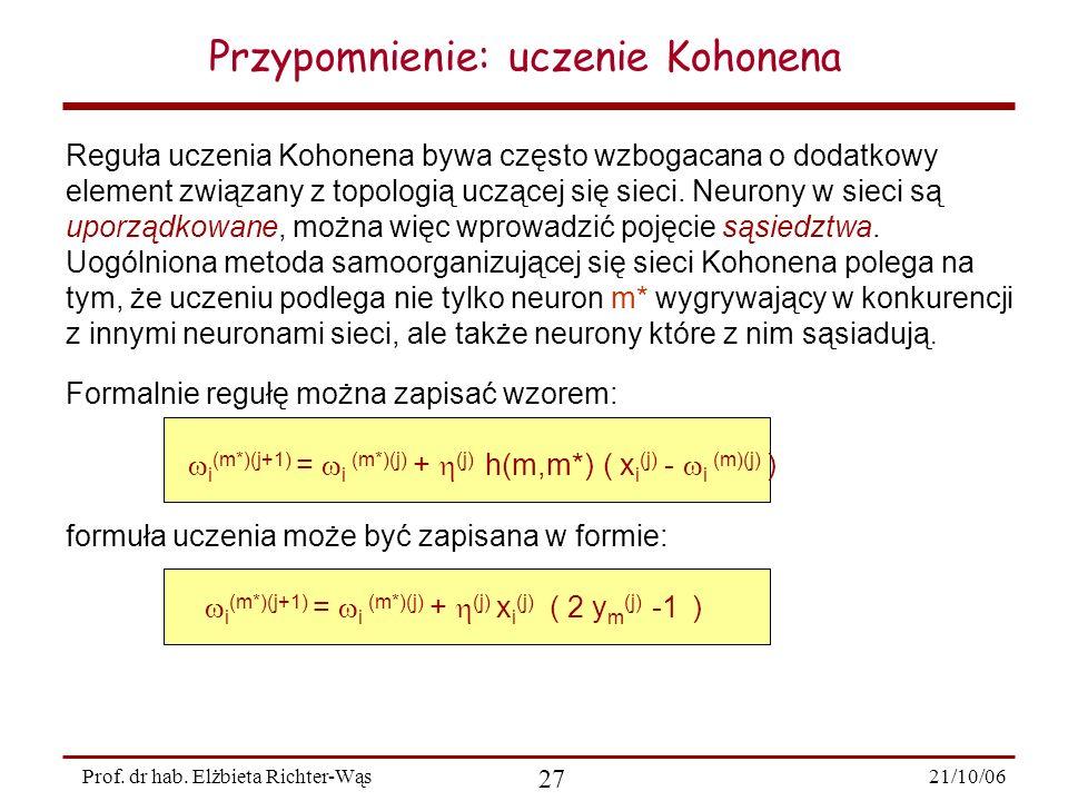 Przypomnienie: uczenie Kohonena
