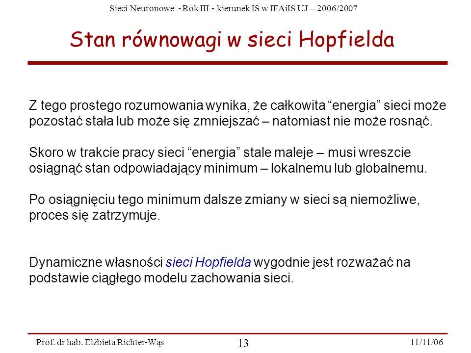Stan równowagi w sieci Hopfielda