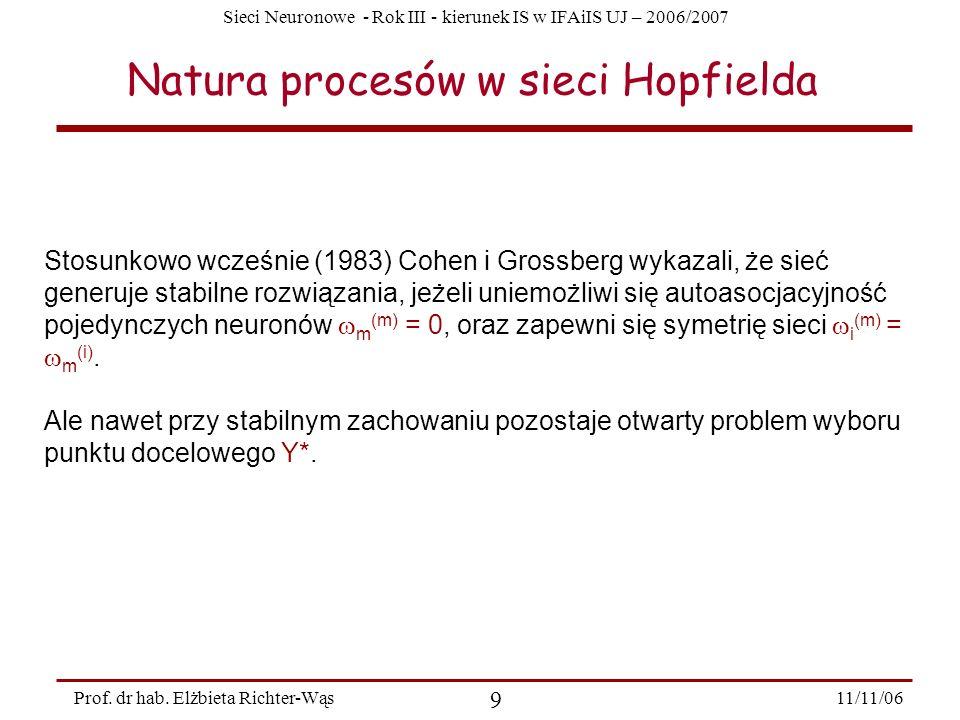 Natura procesów w sieci Hopfielda