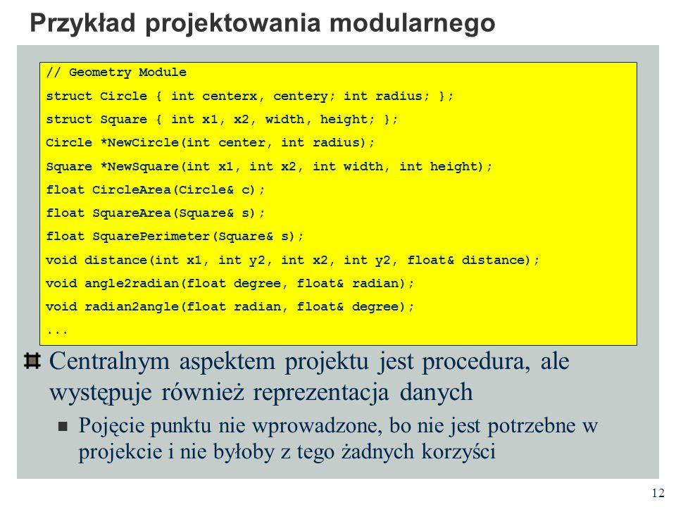 Przykład projektowania modularnego