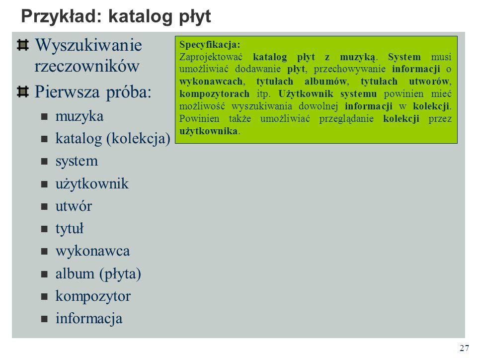 Przykład: katalog płyt