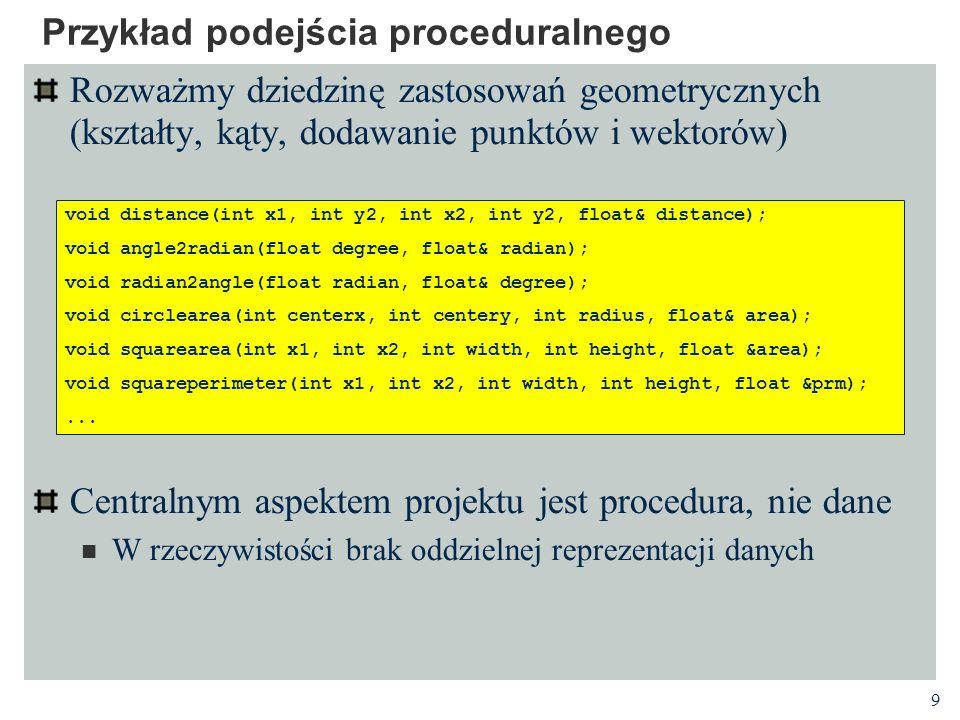 Przykład podejścia proceduralnego