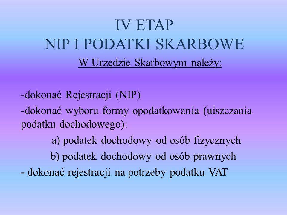 IV ETAP NIP I PODATKI SKARBOWE