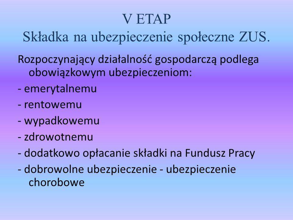 V ETAP Składka na ubezpieczenie społeczne ZUS.