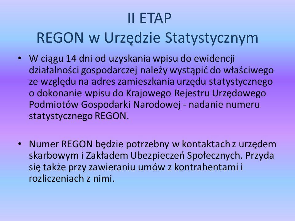 II ETAP REGON w Urzędzie Statystycznym