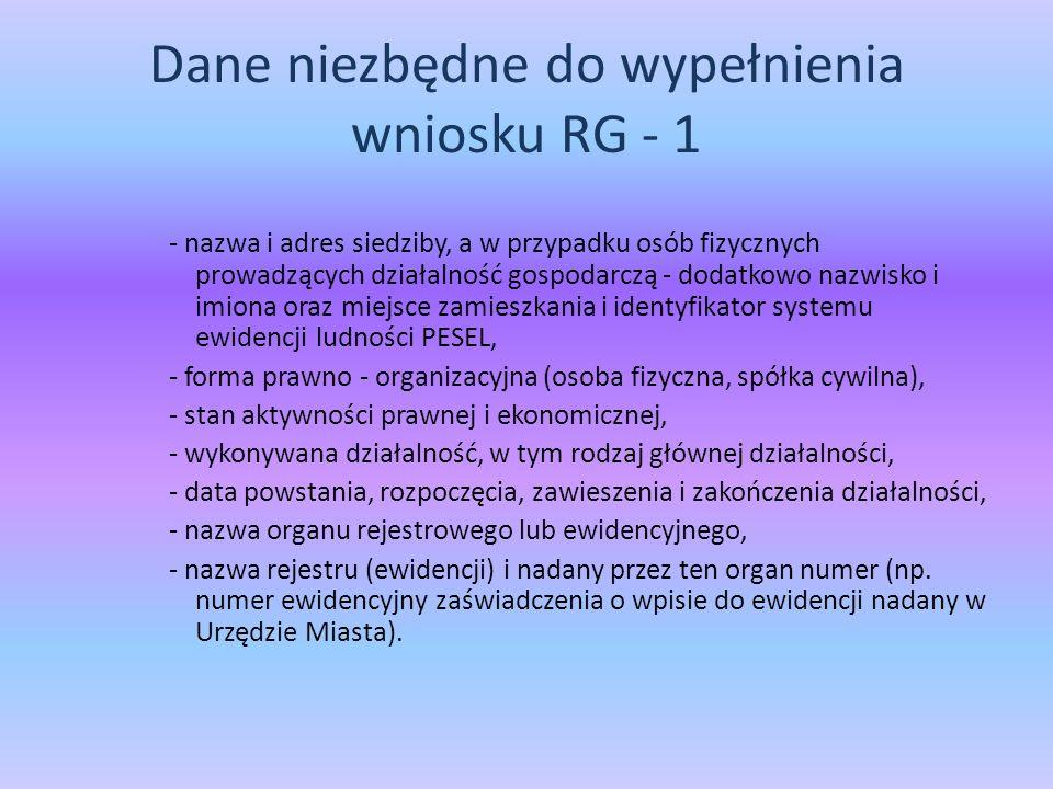 Dane niezbędne do wypełnienia wniosku RG - 1