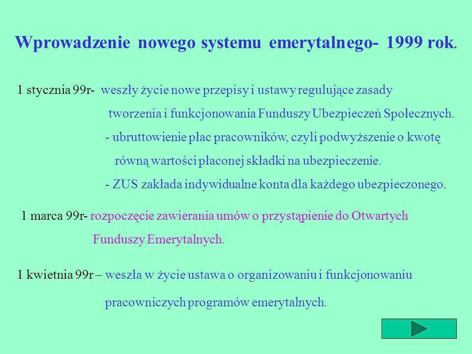 Wprowadzenie nowego systemu emerytalnego- 1999 rok.