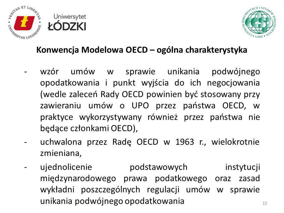 Konwencja Modelowa OECD – ogólna charakterystyka