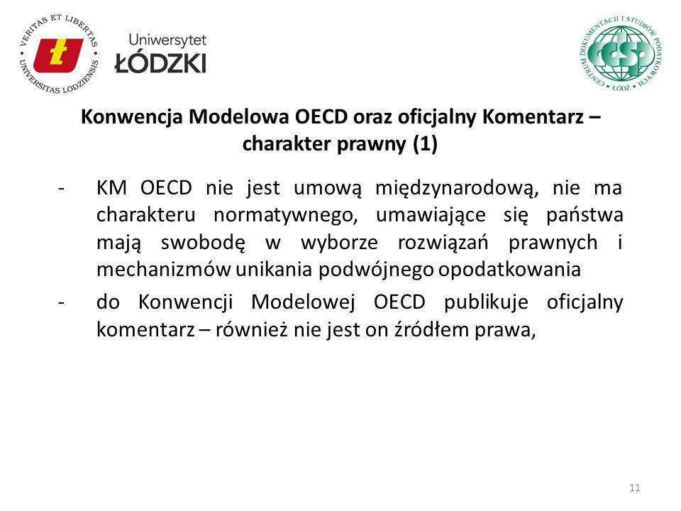 Konwencja Modelowa OECD oraz oficjalny Komentarz – charakter prawny (1)