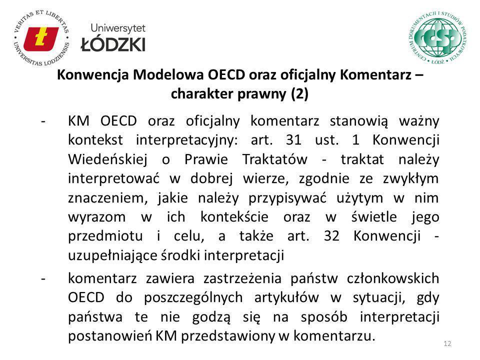 Konwencja Modelowa OECD oraz oficjalny Komentarz – charakter prawny (2)