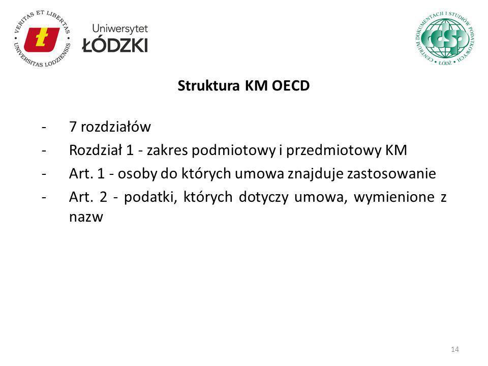 Struktura KM OECD 7 rozdziałów. Rozdział 1 - zakres podmiotowy i przedmiotowy KM. Art. 1 - osoby do których umowa znajduje zastosowanie.