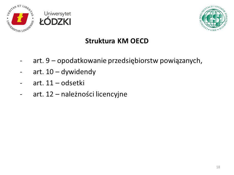 Struktura KM OECD art. 9 – opodatkowanie przedsiębiorstw powiązanych, art. 10 – dywidendy. art. 11 – odsetki.