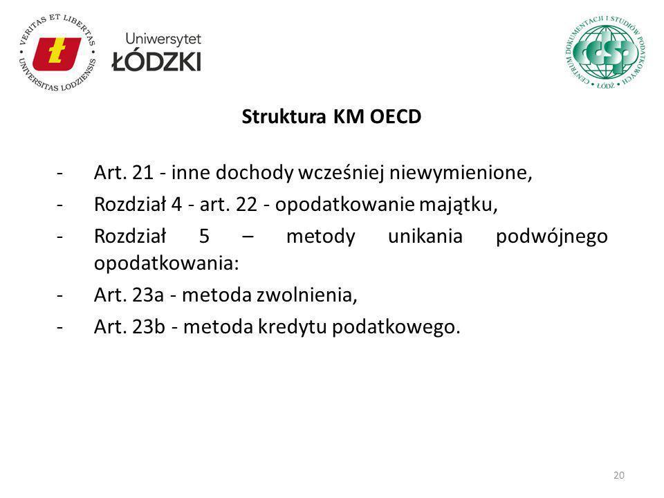 Struktura KM OECD Art. 21 - inne dochody wcześniej niewymienione, Rozdział 4 - art. 22 - opodatkowanie majątku,