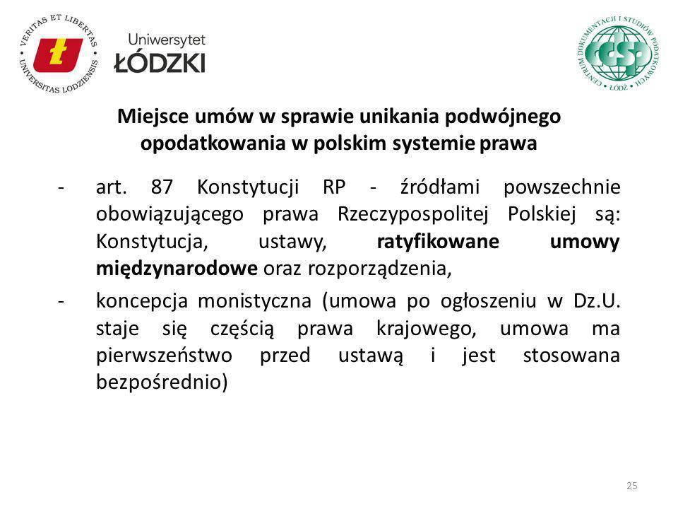 Miejsce umów w sprawie unikania podwójnego opodatkowania w polskim systemie prawa
