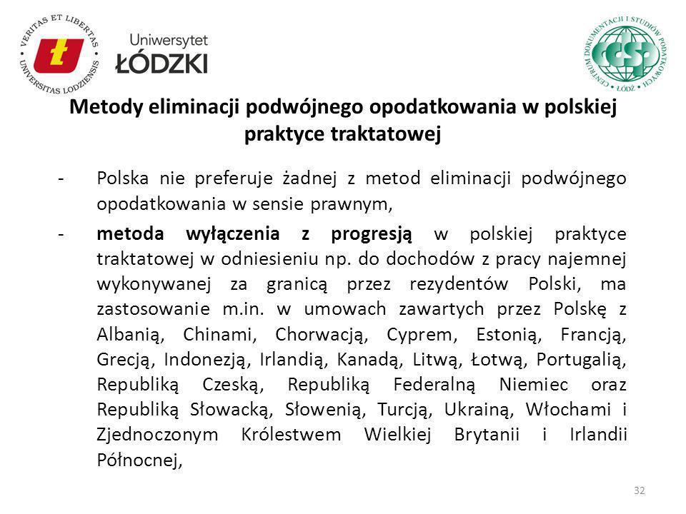 Metody eliminacji podwójnego opodatkowania w polskiej praktyce traktatowej