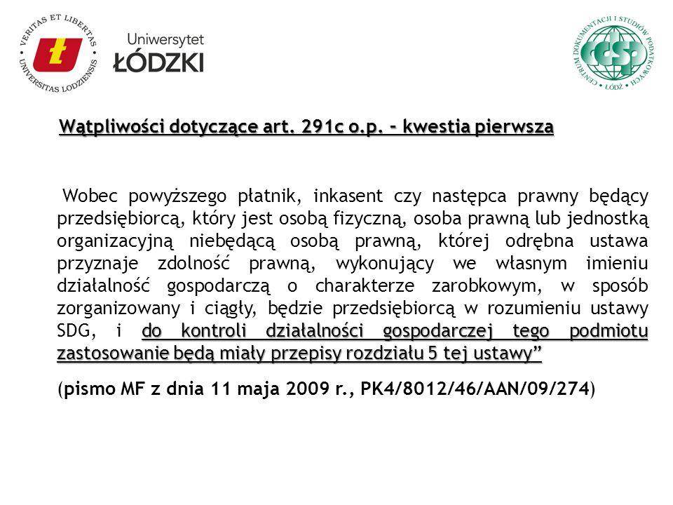 Wątpliwości dotyczące art. 291c o.p. – kwestia pierwsza