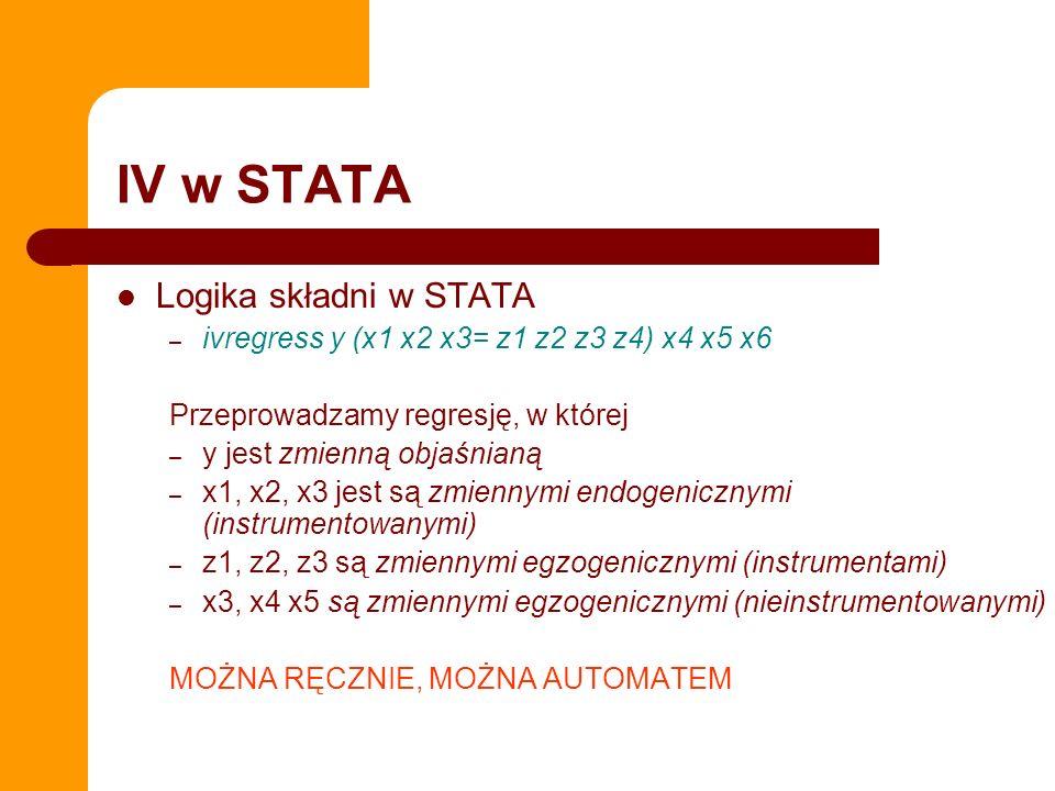 IV w STATA Logika składni w STATA