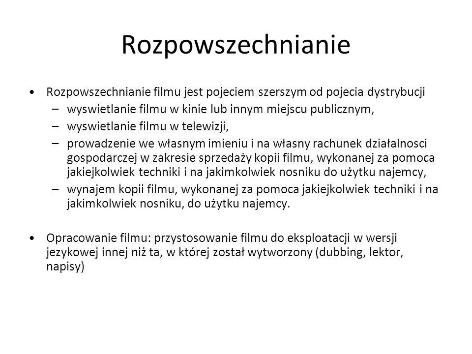 Rozpowszechnianie Rozpowszechnianie filmu jest pojeciem szerszym od pojecia dystrybucji. wyswietlanie filmu w kinie lub innym miejscu publicznym,