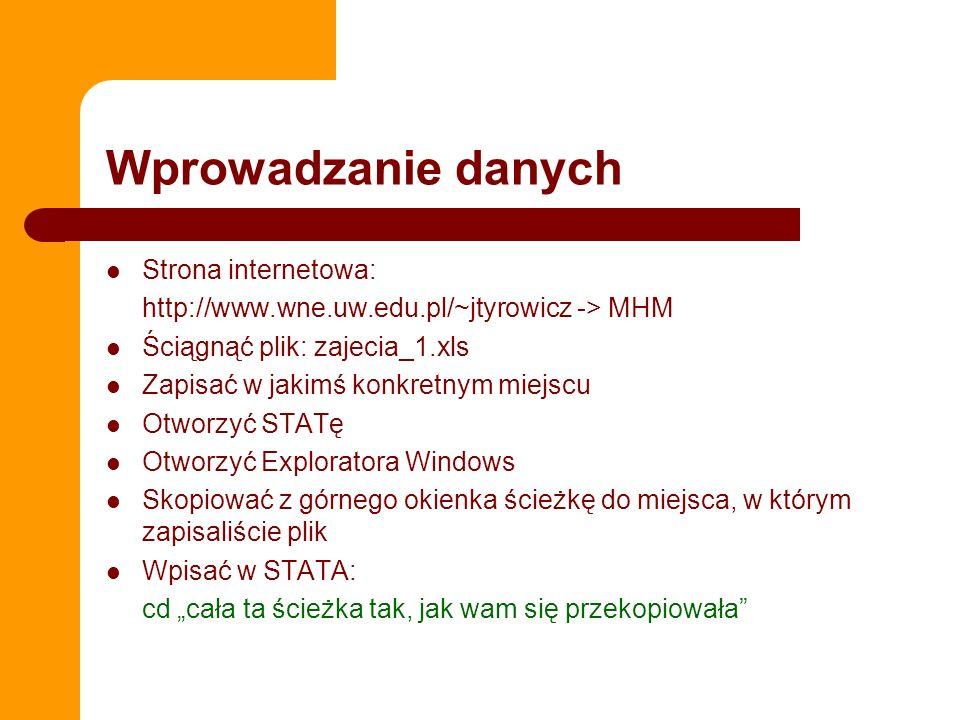 Wprowadzanie danych Strona internetowa: