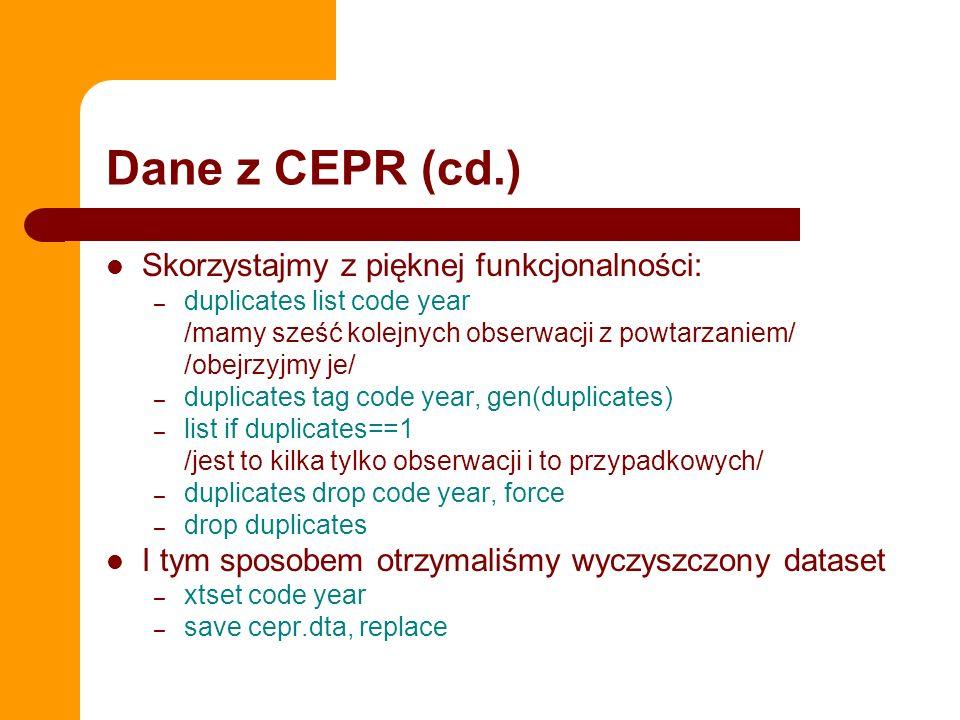 Dane z CEPR (cd.) Skorzystajmy z pięknej funkcjonalności: