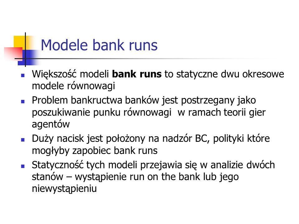 Modele bank runs Większość modeli bank runs to statyczne dwu okresowe modele równowagi.
