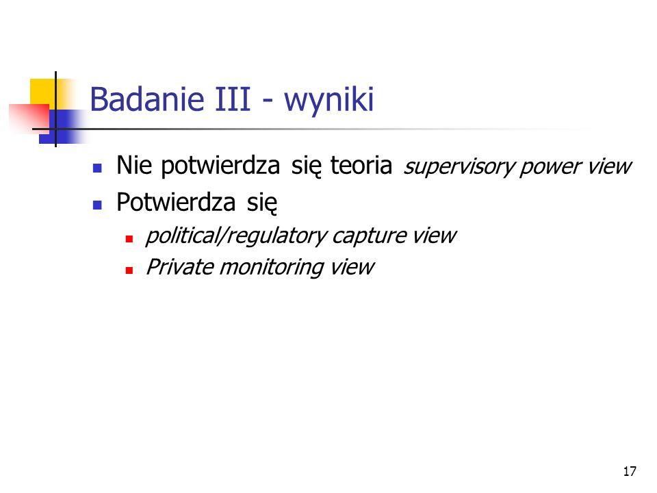 Badanie III - wyniki Nie potwierdza się teoria supervisory power view