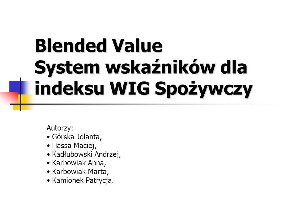 Blended Value System wskaźników dla indeksu WIG Spożywczy