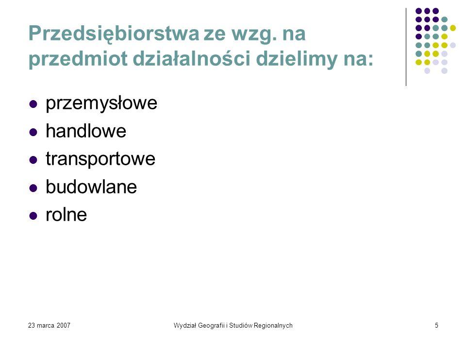 Przedsiębiorstwa ze wzg. na przedmiot działalności dzielimy na: