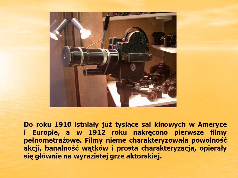Do roku 1910 istniały już tysiące sal kinowych w Ameryce i Europie, a w 1912 roku nakręcono pierwsze filmy pełnometrażowe.