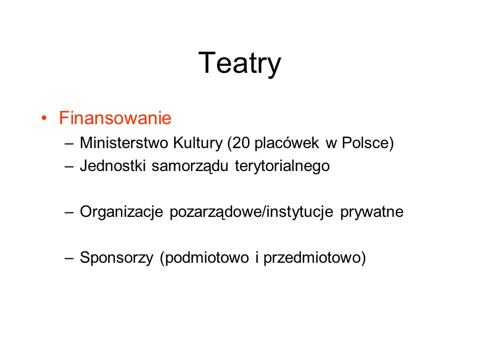Teatry Finansowanie Ministerstwo Kultury (20 placówek w Polsce)