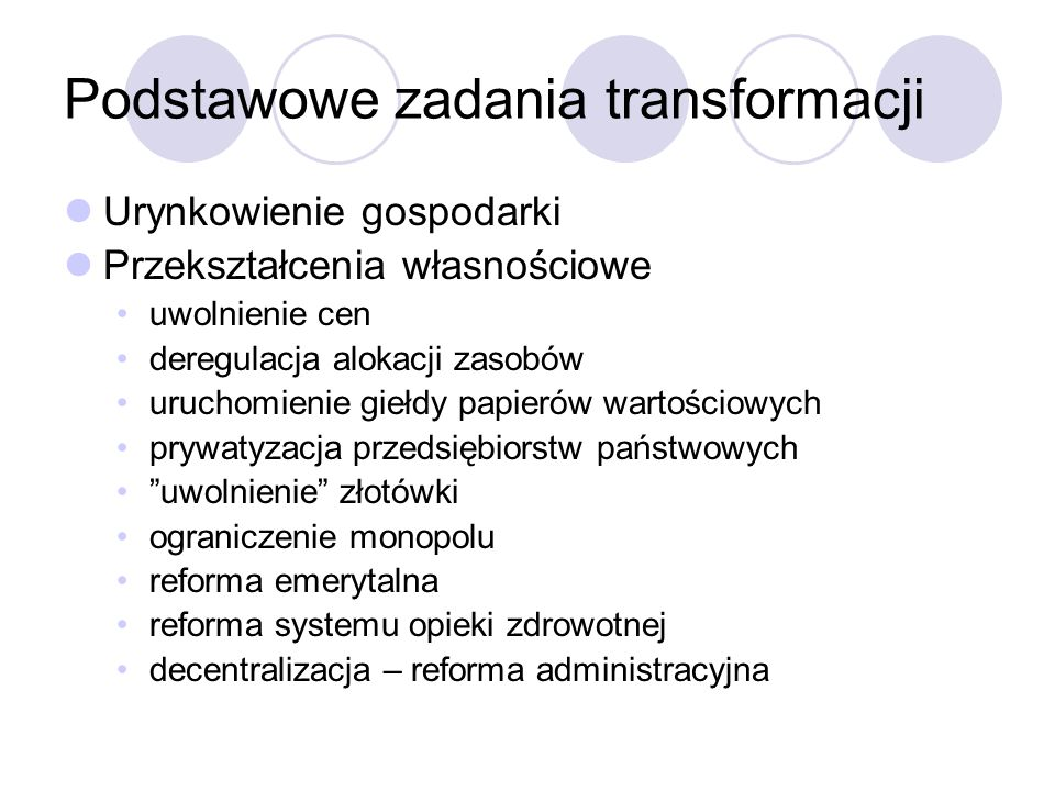 Podstawowe zadania transformacji
