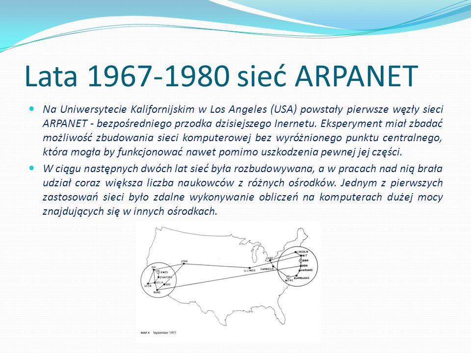Lata 1967-1980 sieć ARPANET