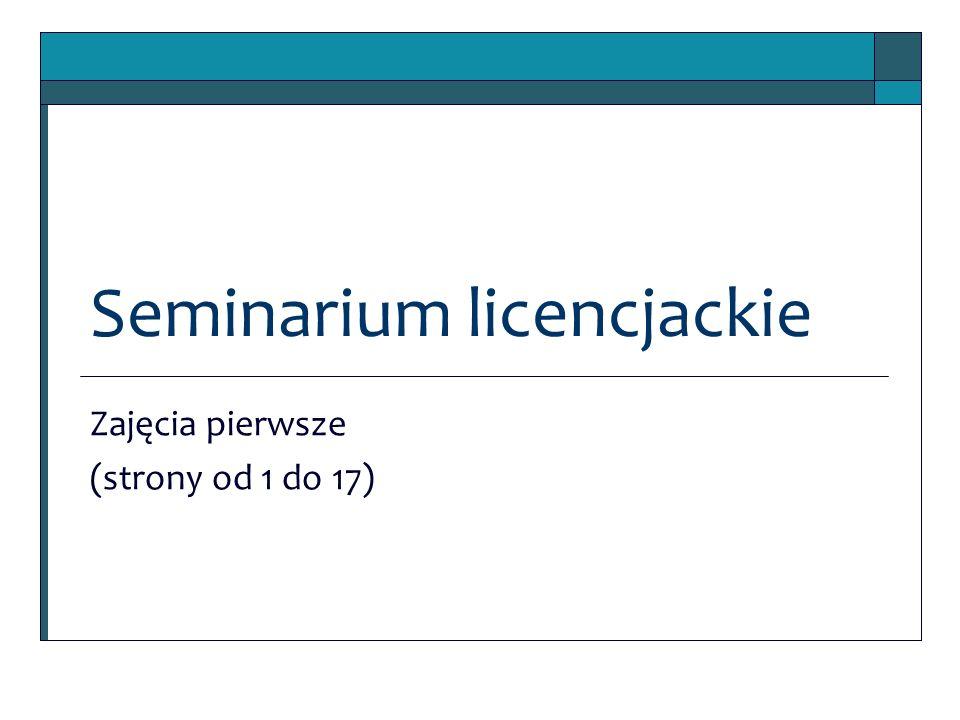 Seminarium licencjackie