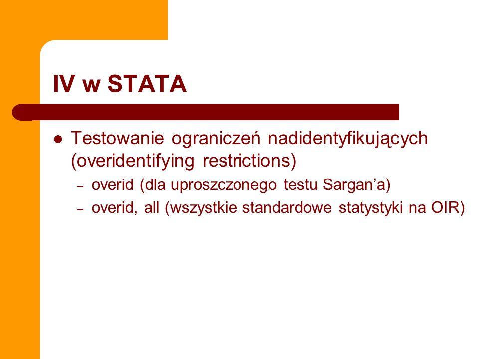 IV w STATA Testowanie ograniczeń nadidentyfikujących (overidentifying restrictions) overid (dla uproszczonego testu Sargan'a)